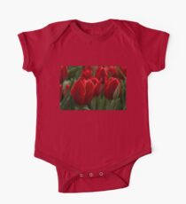 Vibrant Red Spring Tulips One Piece - Short Sleeve
