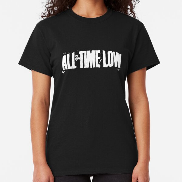 All Time Low T Shirt Goo Logo Official Womens New Black Skinny Fit Hooded Top