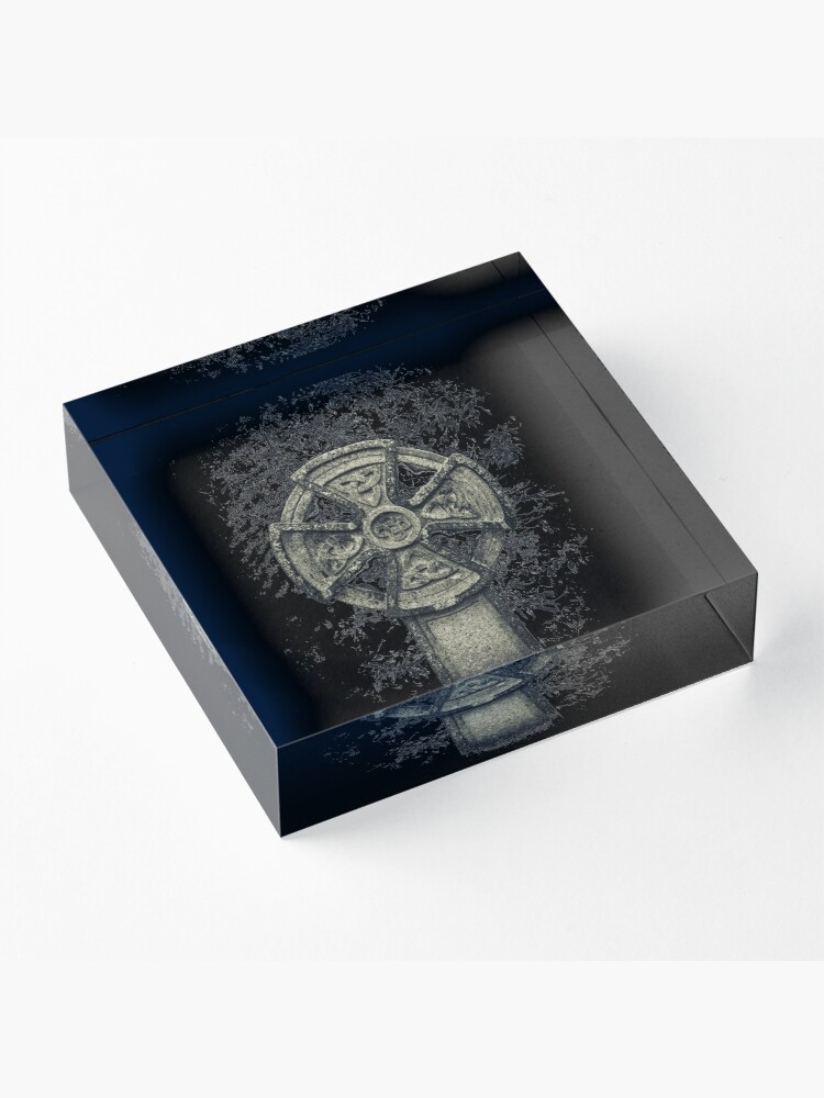Alternate view of Celtic Cross Graveyard Cemetery Viking Knot Traditional Manx Design Acrylic Block
