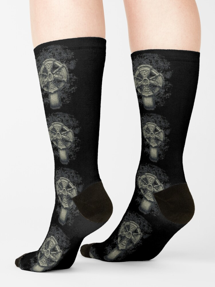 Alternate view of Celtic Cross Graveyard Cemetery Viking Knot Traditional Manx Design Socks