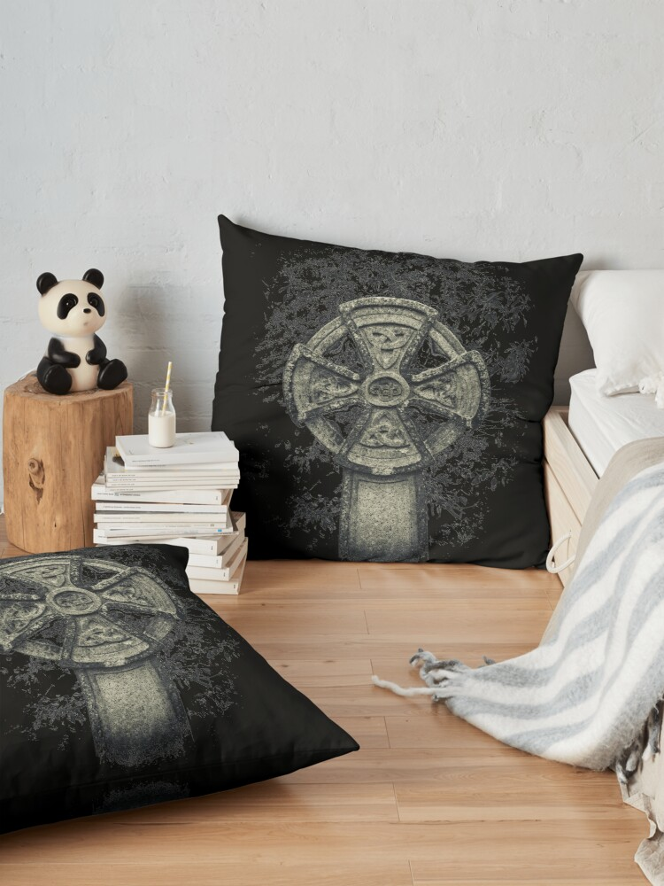 Alternate view of Celtic Cross Graveyard Cemetery Viking Knot Traditional Manx Design Floor Pillow