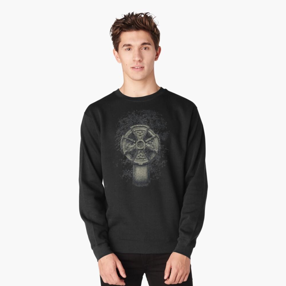 Celtic Cross Graveyard Cemetery Viking Knot Traditional Manx Design Pullover Sweatshirt