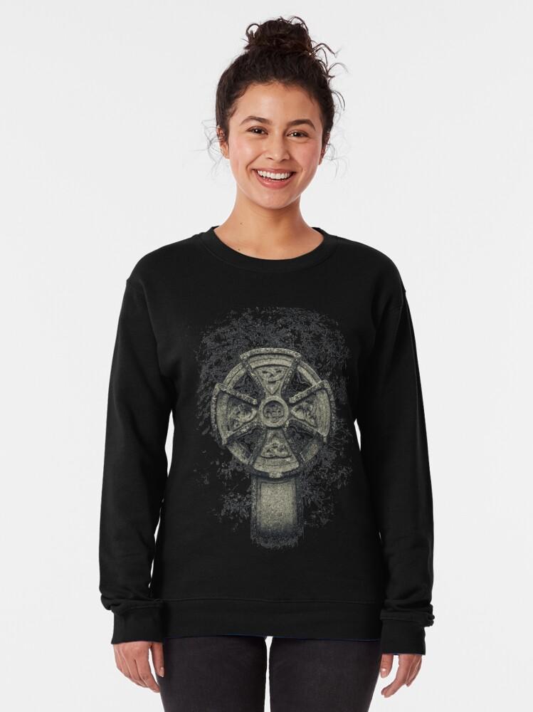 Alternate view of Celtic Cross Graveyard Cemetery Viking Knot Traditional Manx Design Pullover Sweatshirt