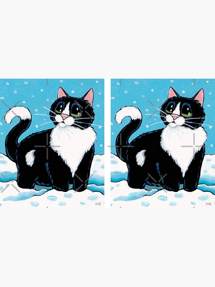 Knee Deep in the White Stuff (Tuxedo Cat in Snow) by LisaMarieArt
