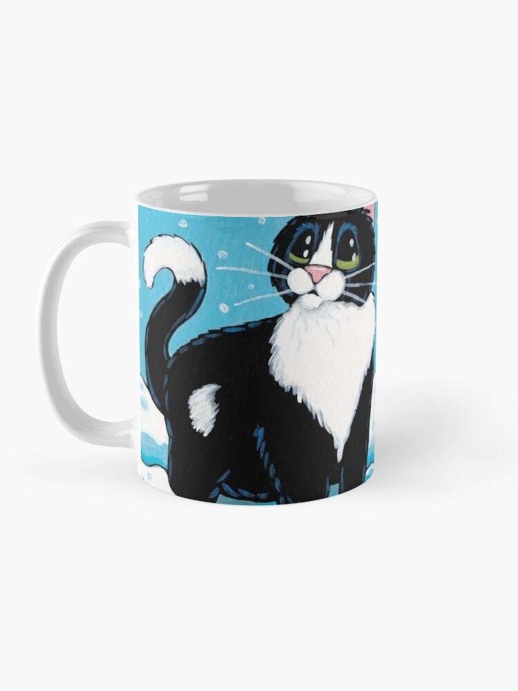 Alternate view of Knee Deep in the White Stuff (Tuxedo Cat in Snow) Mug