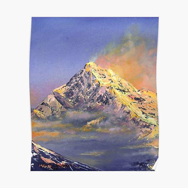 Everest sunrise - oil painting, digital art print Poster