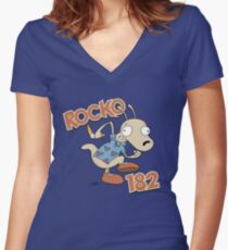 Rocko 182 Women's Fitted V-Neck T-Shirt