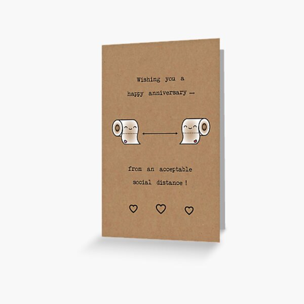 Social distance anniversary toilet rolls Greeting Card