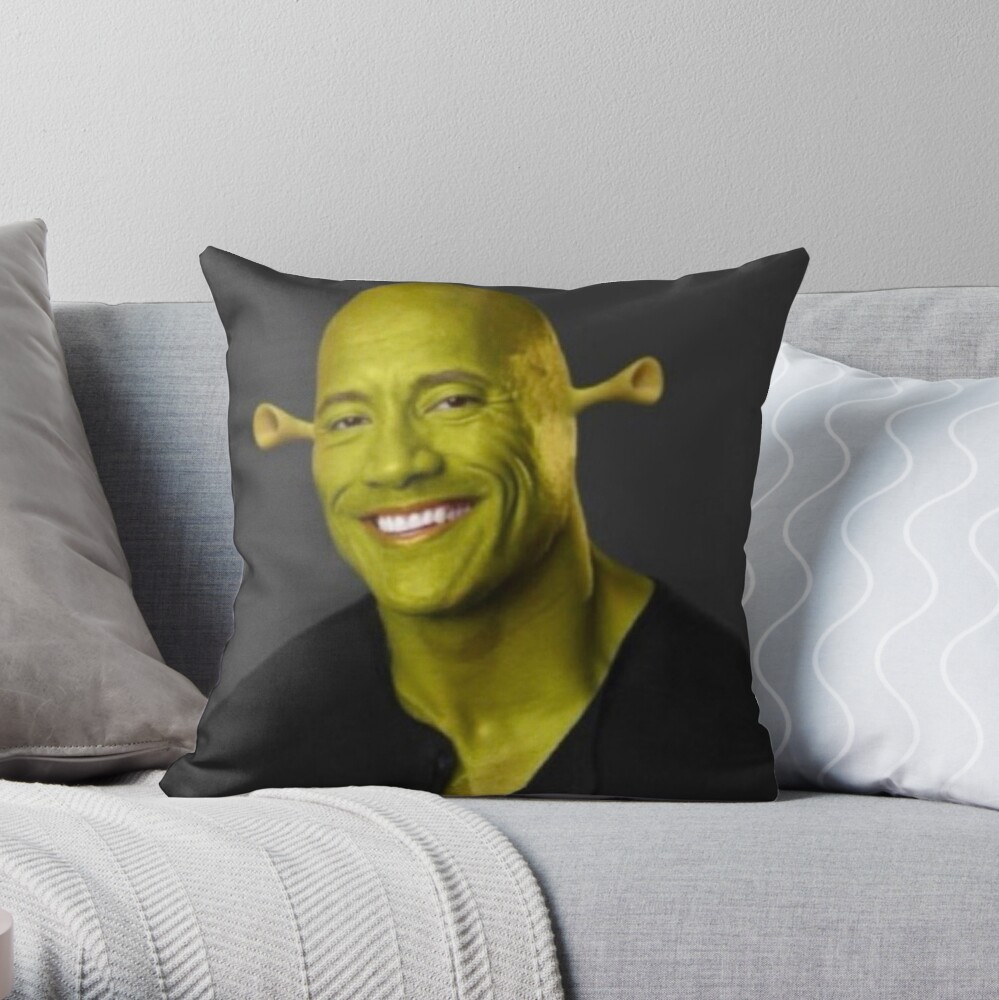 "Dwayne 'The Shrok"" Johnson Throw Pillow"