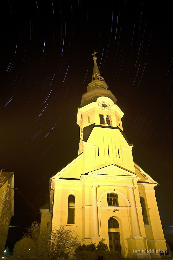 Star trails behind Vodice Church by Ian Middleton
