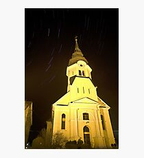 Star trails behind Vodice Church Photographic Print