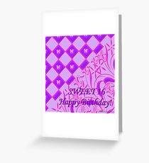 Pink and Purple Butterfly Sweet 16 Greeting Card