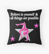 PRETTY PINK GYMNASTICS DREAMS DESIGN Throw Pillow