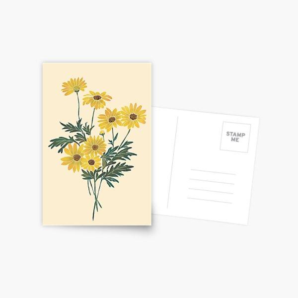 Amazing Vintage Retro Yellow Flowers Sunflowers  Postcard