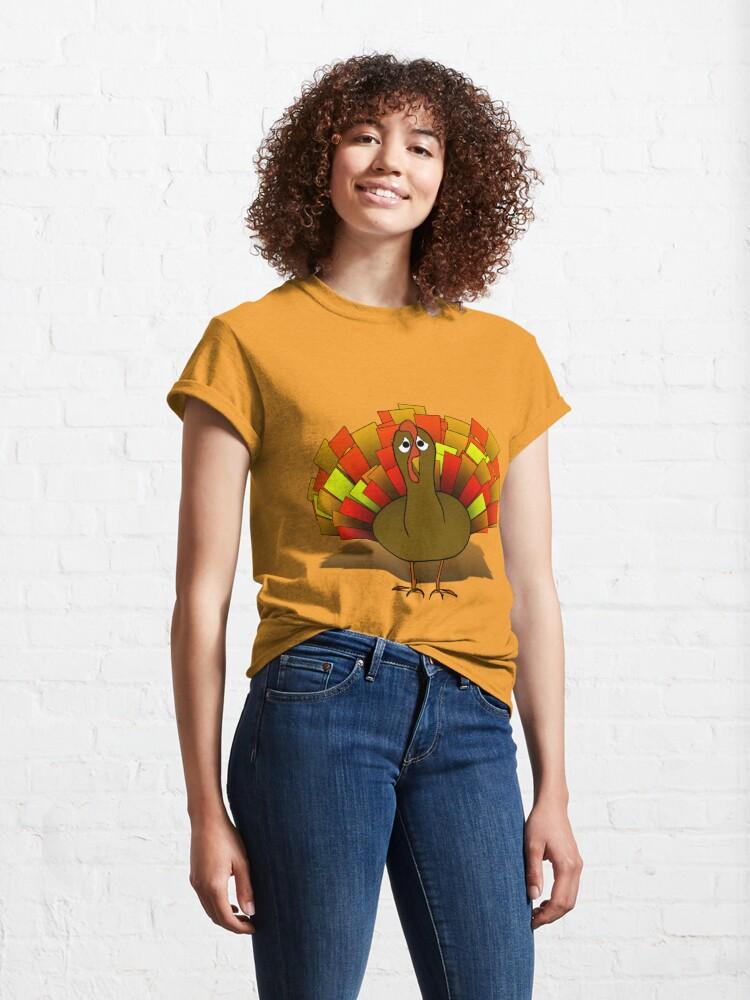 Alternate view of Worried  Thanksgiving Turkey Classic T-Shirt