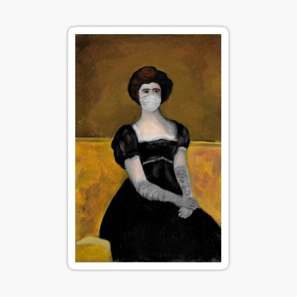 Woman sitting with a mask and gloves Sticker