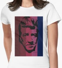 David Lynch in stripy background! Womens Fitted T-Shirt