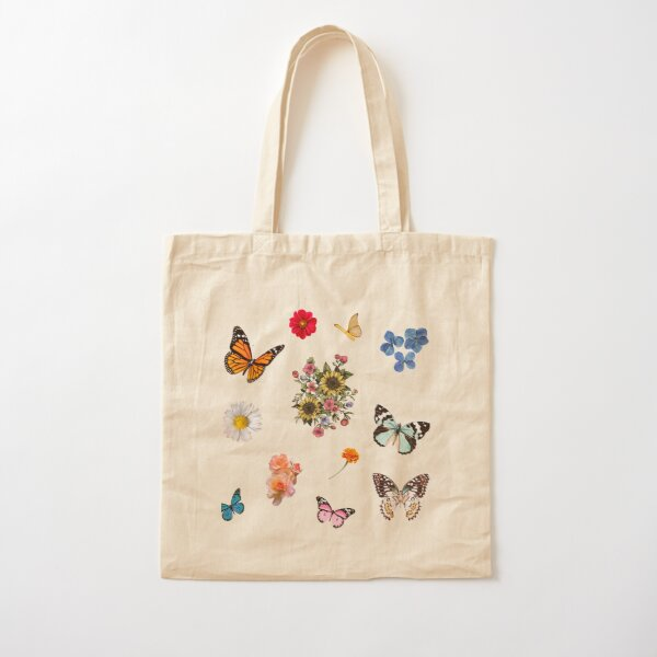 flowers and butterflies sticker pack  Cotton Tote Bag