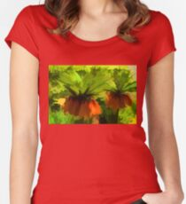 Showy Orange Crown Imperial Flowers - Impressions Of Spring Women's Fitted Scoop T-Shirt