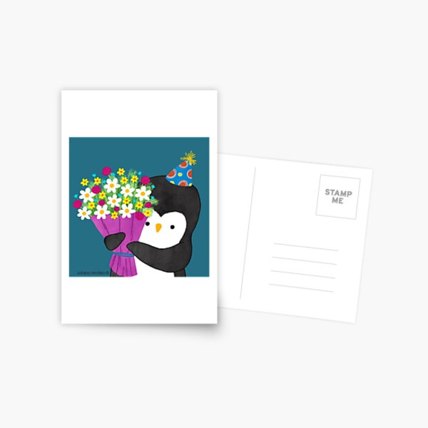 Birthday Penguin with Flowers Postcard