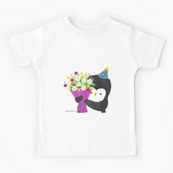 Birthday Penguin with Flowers Kids T-Shirt