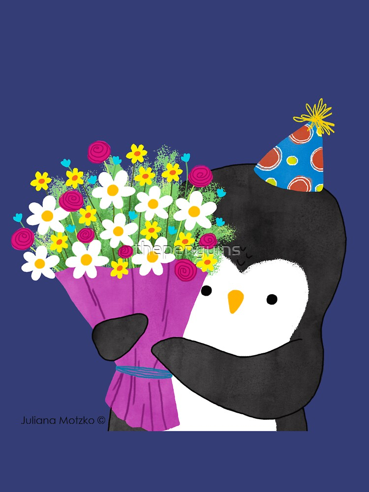 Birthday Penguin with Flowers by thepenguins