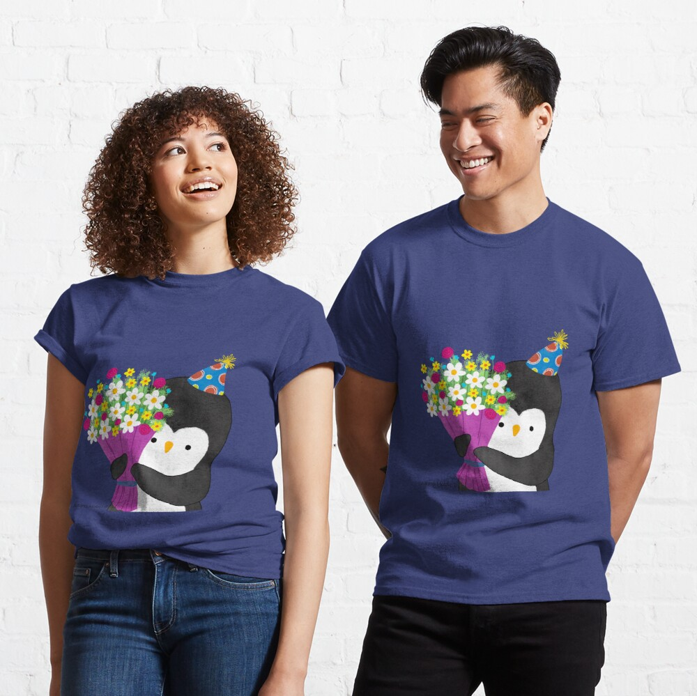 Birthday Penguin with Flowers Classic T-Shirt