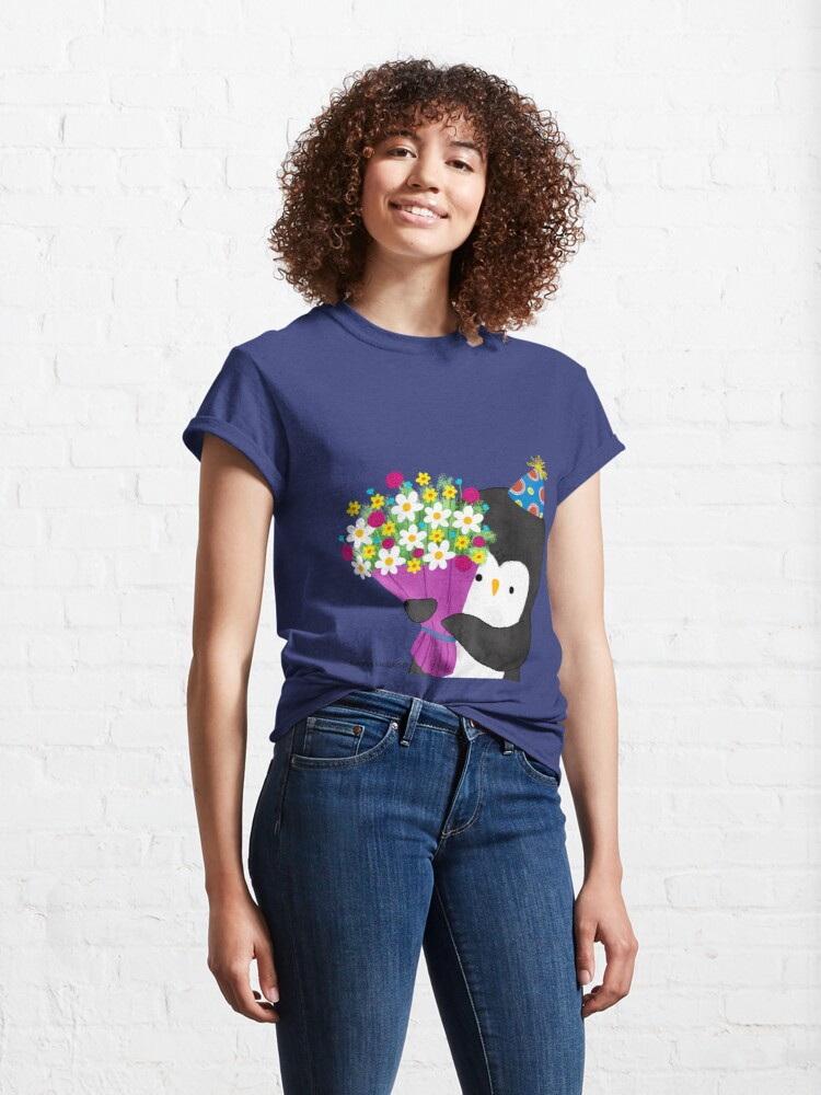 Alternate view of Birthday Penguin with Flowers Classic T-Shirt