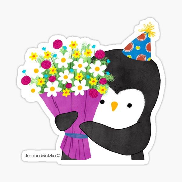 Birthday Penguin with Flowers Sticker