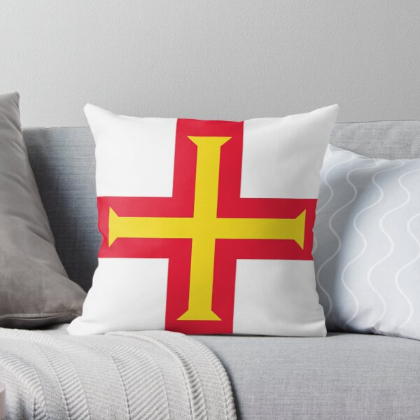 Guernsey Flag Gifts, Stickers and other Products Throw Pillow