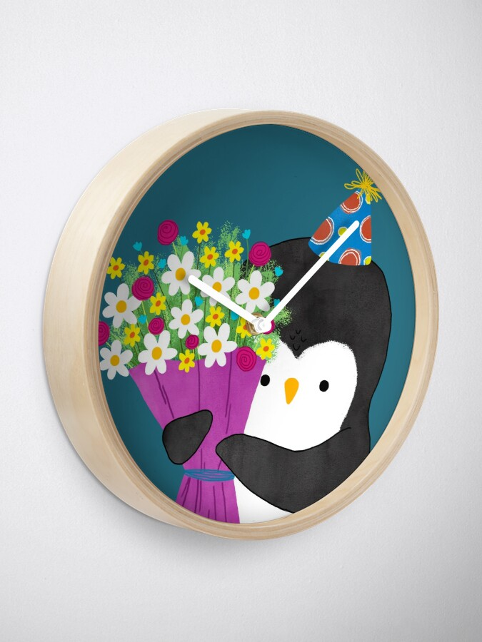Alternate view of Birthday Penguin with Flowers Clock