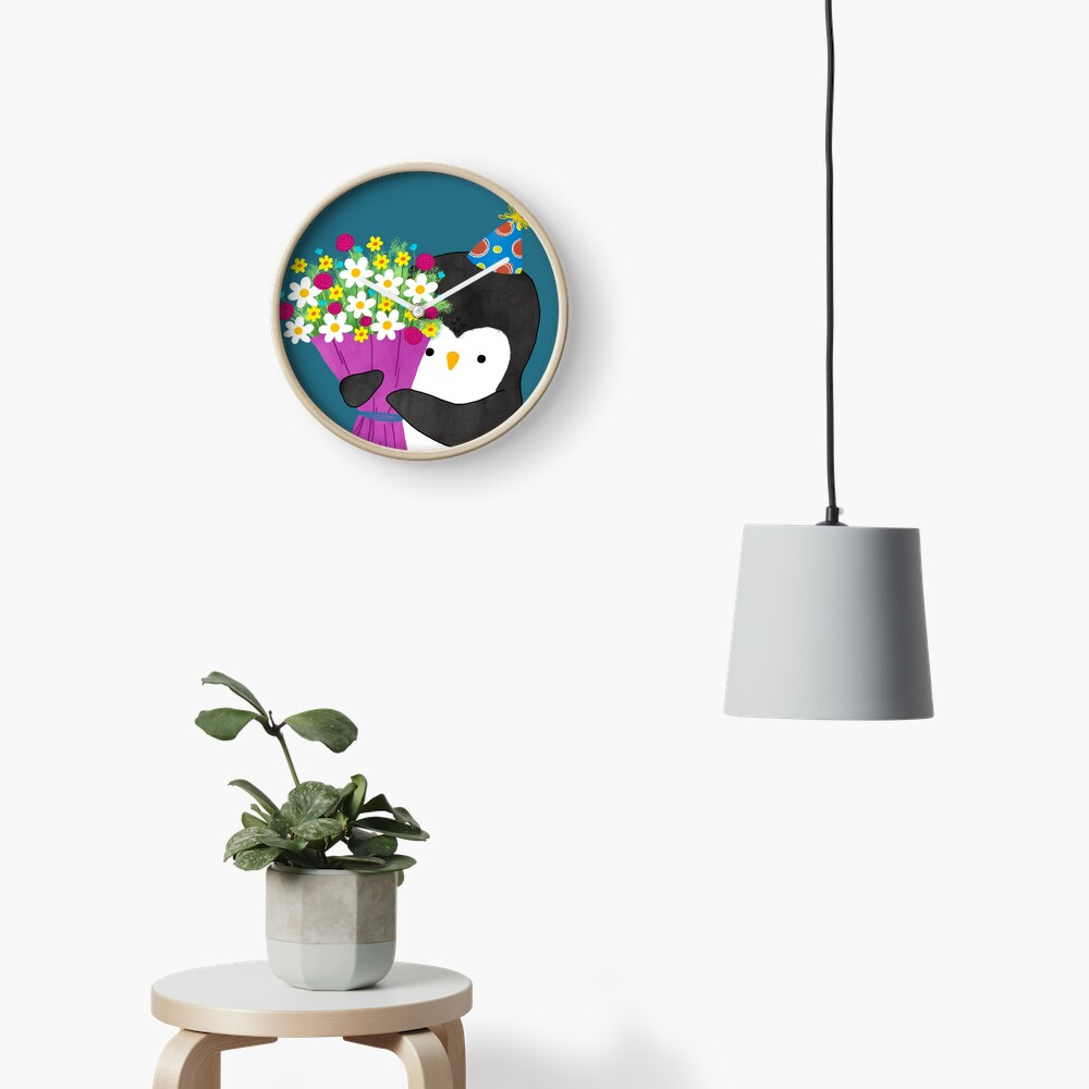 Birthday Penguin with Flowers Clock