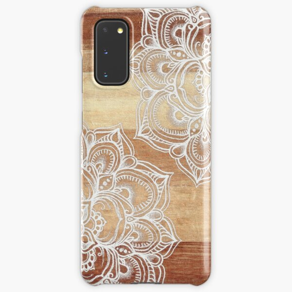 White Doodles on Blonde Wood Samsung Galaxy Snap Case