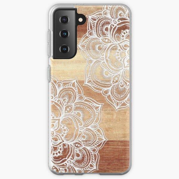 White Doodles on Blonde Wood Samsung Galaxy Soft Case
