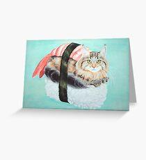 Cat Sushi - Large Greeting Card