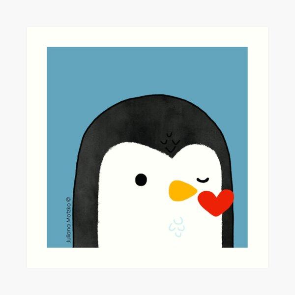 Penguin Kiss Emoji Art Print