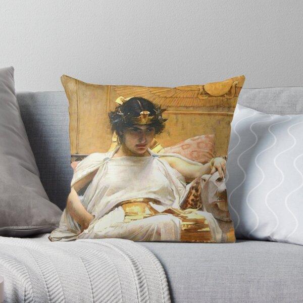 Egypt. Egyptian. Queen. Cleopatra, John William Waterhouse. Throw Pillow