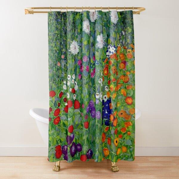 GUSTAV KLIMT : Vintage 1918 Bauerngarten Flower Garden Print Shower Curtain