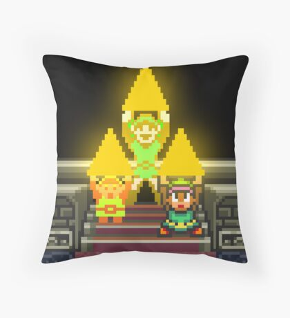 Link Evolution with Triforce Throw Pillow