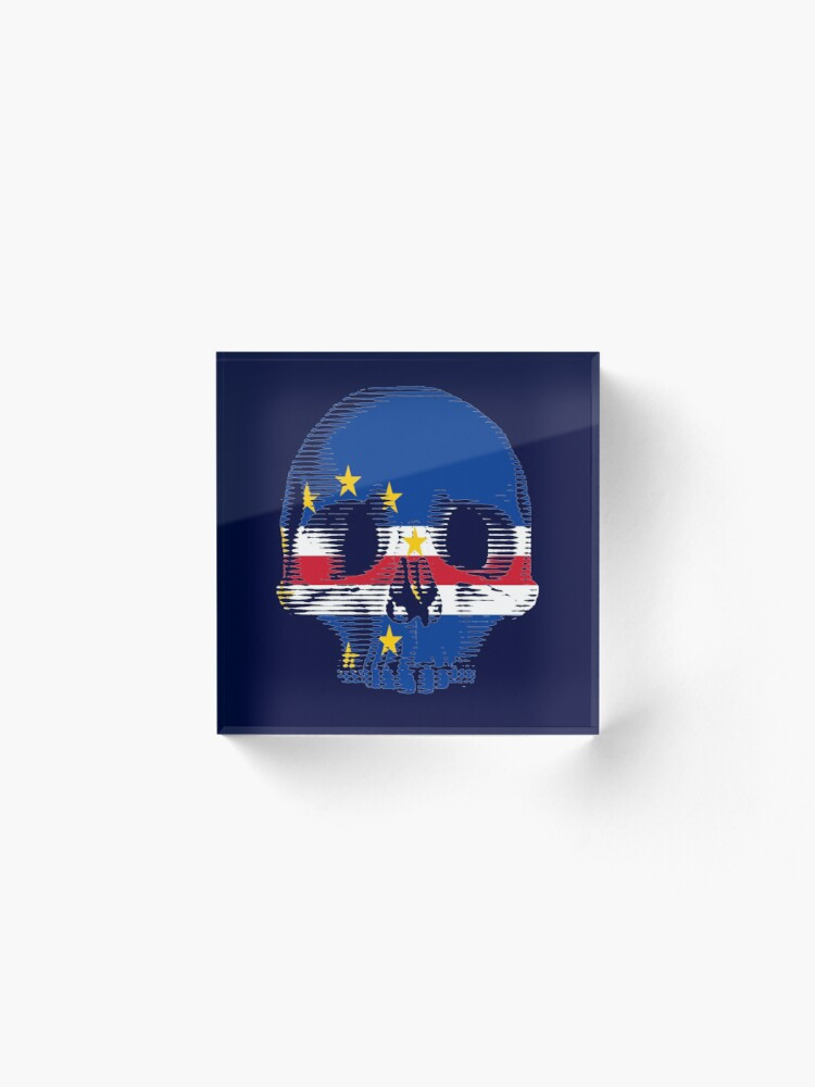 Alternate view of Cape Verde Flag Skull Distressed Vintage Retro Acrylic Block