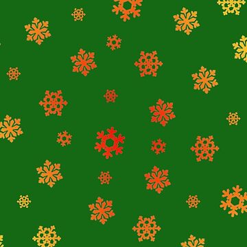 Snowflakes (Red & Gold on Green) by pauljamesfarr