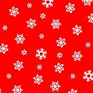 Snowflakes (White on Red) by Paul James Farr