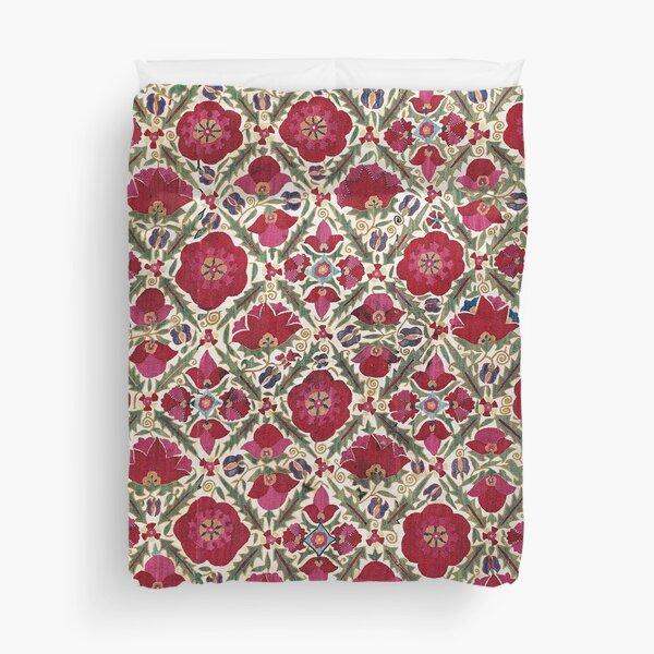 Bokhara Nim Suzani  Antique Uzbek Embroidery Print Duvet Cover
