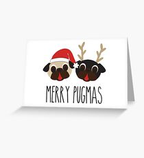 Merry Pugmas Santa & Reindeer Pugs Pattern 2 Greeting Card