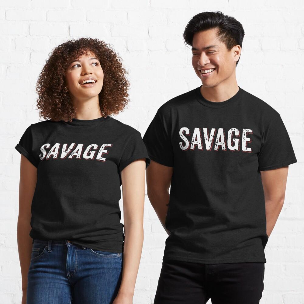 Savage Distressed Hip Hop Print Classic T-Shirt