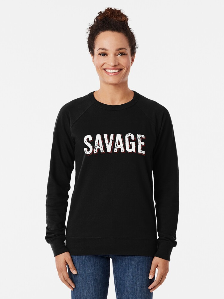 Alternate view of Savage Distressed Hip Hop Print Lightweight Sweatshirt