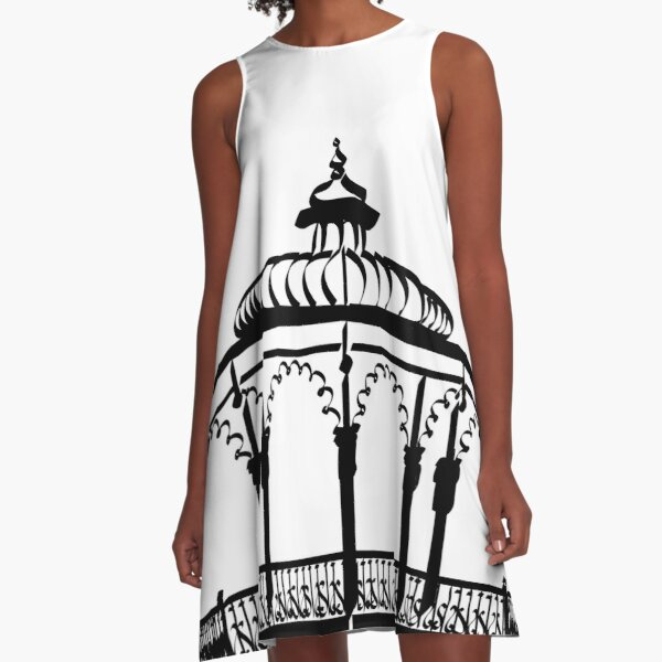 Bandstand Brighton UK, black print A-Line Dress
