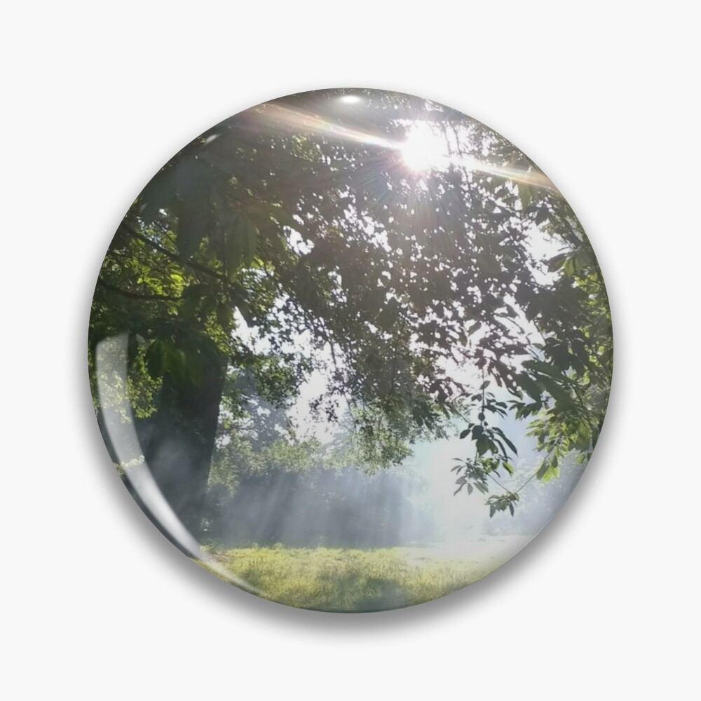 Merch #12 -- Smoky Tree Sun Rays - Portrait Shot (Pearson Park) Pin
