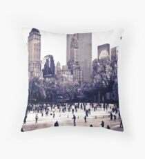 Central Park Ice Rink Throw Pillow