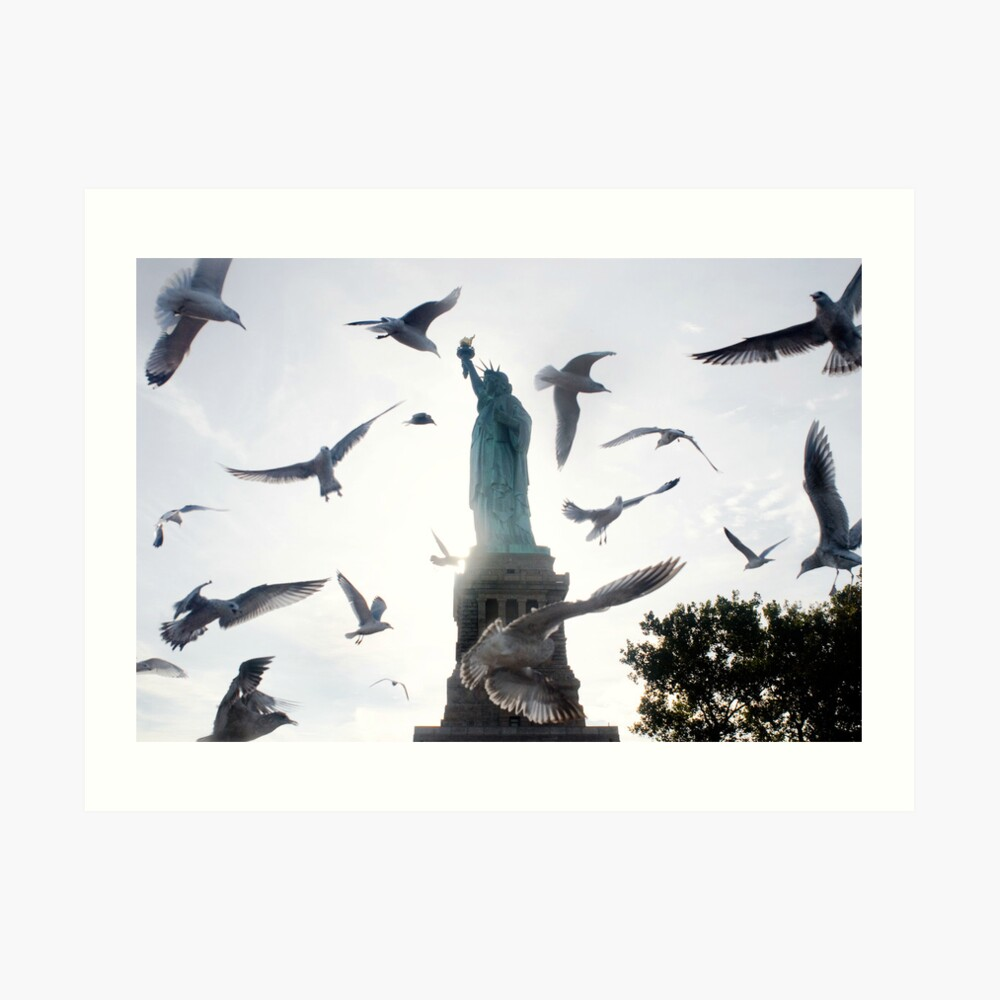 Statue of Liberty with Birds: NYC Art Print
